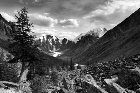 black and white panoramic view of savlo rock face - altai range - mountains russia  Reklamní fotografie