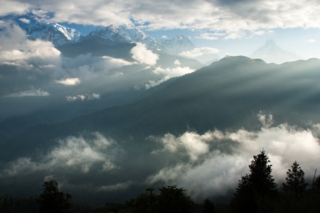 view from view point Poon Hill to Annapurna, Annapurna South and Machapuchare - Nepal  photo