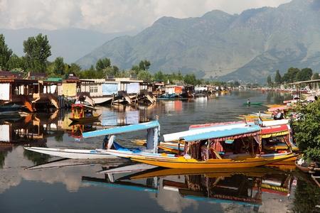 whiff: Shikara boats on Dal Lake in Srinagar, Jammu and Kashmir, India Editorial
