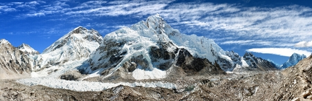 icefall: panoramic view of Everest, Nuptse, glacier and ice-fall khumbu from everest b c