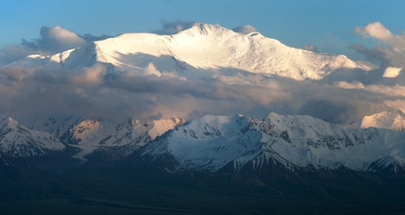Evening view of Lenin Peak from Alay range - Kyrgyz Pamir Mountains - Kyrgyzstan and Tajikistan border- Central Asia  Roof of the World  photo