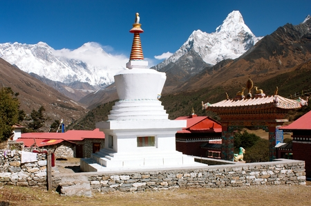 Ama Dablam Lhotse and top of Everest from Tengboche - Way to Everesr base camp - Khumbu valley - Nepal photo