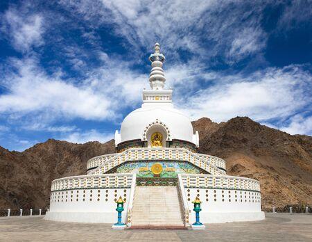 nepali: Tall Shanti Stupa near Leh - Jammu and Kashmir - Ladakh - India