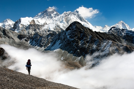 nepal: view of Everest from Gokyo with tourist on the way to Everest base camp - Nepal