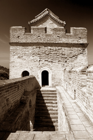 View of Great Wall of China located in Hebei province photo