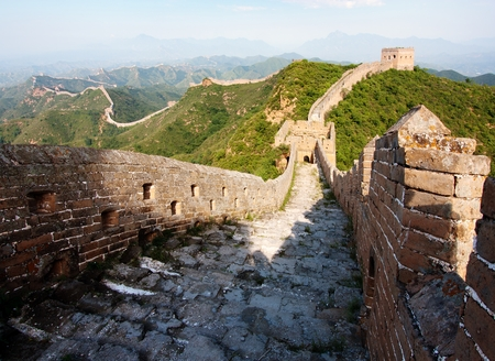 parapet wall: View of evening Great Wall of China located in Hebei province Stock Photo