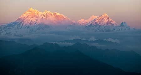 edge of the ice: Evening view of mount Annapurna - nepal