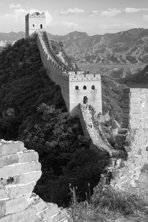 black and white view of Great Wall - China photo