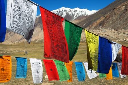 himachal pradesh: Prayer flags with stupas - Himachal Pradesh - India Stock Photo