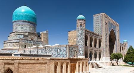islamic prayer: View of Tilla-Kari medressa - Registan - Samarkand - Uzbekistan Stock Photo