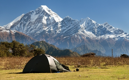 View of mount Dhaulagiri with tent - Nepal Stock Photo - 31524208