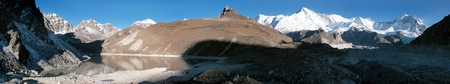icescape: panoramic view of Cho Oyu - way to Cho Oyu base camp and Everest base camp - Nepal