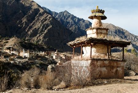 foothills: Ringmogaon - Phoksundo trek - Lower Dolpo - Village in western Nepal