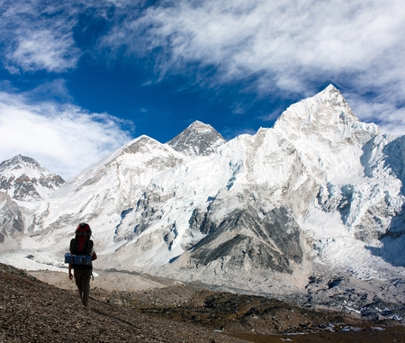icefall: panoramic view of Mount Everest with beautiful sky, tourist and Khumbu Glacier from Kala Patthar - Khumbu valley - Nepal