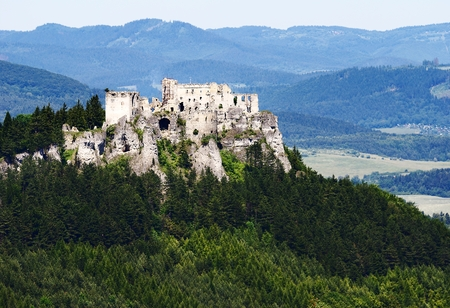 lithic: ruins of lietava castle - gothic castle in slovakia Stock Photo