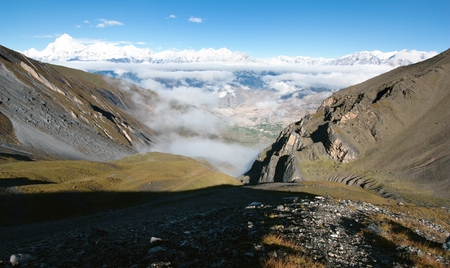 panoramatic: view from thorung la pass annapurna himal to dhaulagiri himal Stock Photo