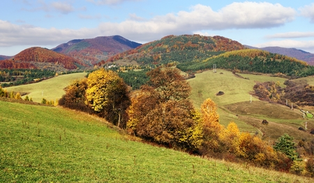 grassfield: autumnal view of strazov mount in strazovske vrchy - strazov highlands slovakia europe