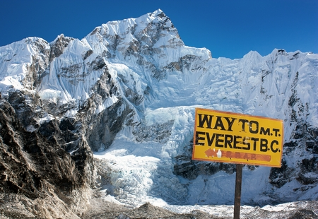 Nuptse peak near Gorak Shep village - Way to Everest base camp - Nepal photo