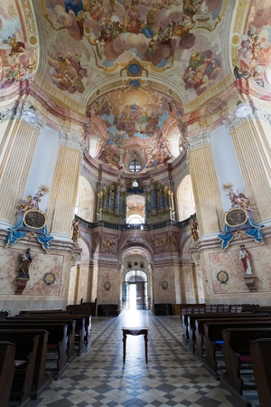 architector: KRTINY, CZECH REPUBLIC, 26TH APRIL 2014 - interiors of Pilgrimage Church in Krtiny village of the Name of Virgin Mary from famous baroque architect Jan Blazej Santini Aichel - since 1750 year Editorial