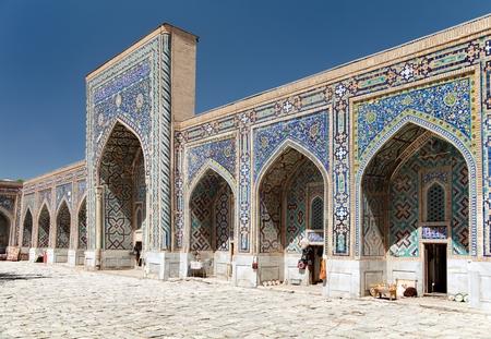 uzbekistan: View of Tilla-Kari medressa - Registan - Samarkand - Uzbekistan Stock Photo