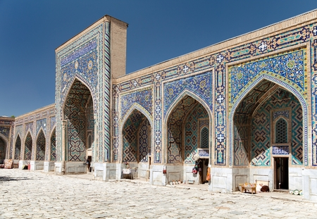 View of Tilla-Kari medressa - Registan - Samarkand - Uzbekistan Stock Photo