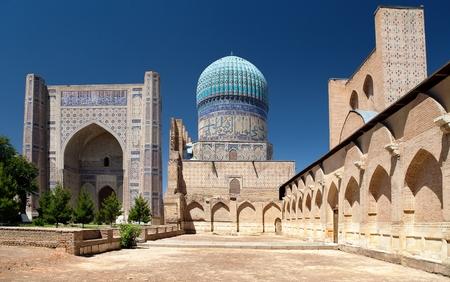 ウズベキスタン - レギスタン - サマルカンド - ビビ Khanym モスクから表示します。 写真素材