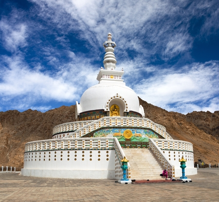 shanti: Tall Shanti Stupa near Leh, Ladakh, India