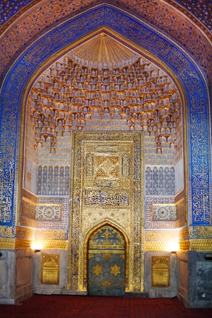 foremost: SAMARKAND, UZBEKISTAN - 18TH OF JUNE 2013: Fragment of beautiful interior of ancient Tillya Kary Madrassah in Samarkand, Uzbekistan. It is one of the foremost interesting place in Central Asia