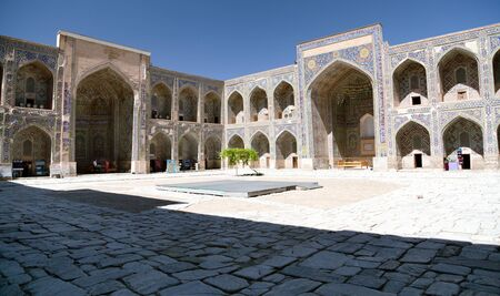 registan: View from Sher Dor Medressa - Registan - Samarkand - Uzbekistan Stock Photo