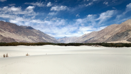 alluvial: Dunes in Nubra Valley - Ladakh - Jammu and Kashmir - Indian Himalayas Stock Photo