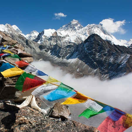 ri: view of everest from gokyo ri - way to Everest base camp - Nepal