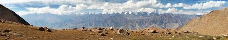 Panoramic view from Ladakh Range to Stok Kangri Range - Ladakh - Jammu and Kashmir - India Stok Fotoğraf