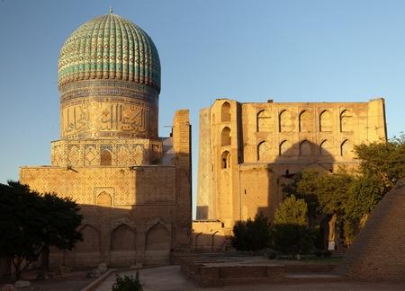 registan: Evening view from Bibi-Khanym mosque - Registan - Samarkand - Uzbekistan Stock Photo