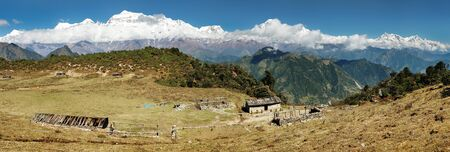 panoramatic: panoramatic view from Jaljala pass of Dhaulagiri and Annapurna Himal - Nepal Stock Photo