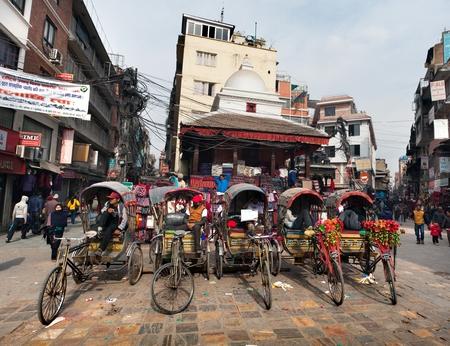 hinduist: KATHMANDU, NEPAL, 6TH DECEMBER 2014 - rickshaw is a very popular type of public transport in cities in Nepal