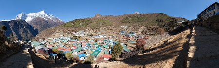 bazar: Namche Bazar and mount Kongde - Sagarmatha national park - Khumbu valley - way to Everest base camp - Nepal