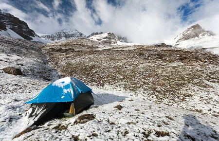 encampment: camping on mountain in himalayas - nepal