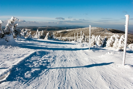 crosscountry: view of crosscountry skiing way and mount Serak - Jesenik mountains- Moravia - Czech republic