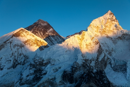 icefall: Evening view of Mount Everest from Kala Patthar - way to Everest base camp - Nepal