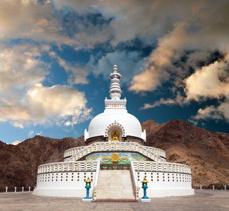 kashmir: Tall Shanti Stupa near Leh - Jammu and Kashmir - Ladakh - India