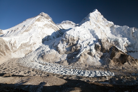Beautiful view of mount Everest, Lhotse and nuptse from Pumo Ri base camp - way to Everest base camp - Nepal