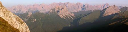 alpen: morning view from Karnische Alpen or Alpi Carniche to Sextener Dolomiten or Dolomiti di Sesto