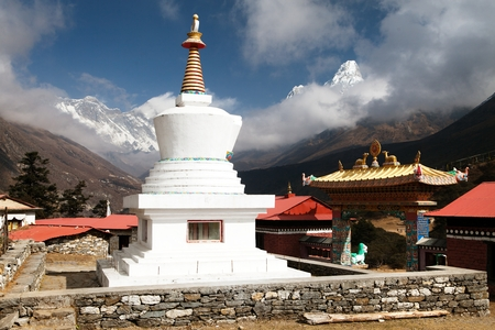 Stupa, Ama Dablam, Lhotse and top of Everest from Tengboche - Way to Everesr base camp - Khumbu valley - Nepal photo