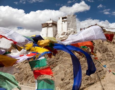 gompa: Namgyal Tsemo Gompa with prayer flags - Leh - Ladakh - Jammu and Kashmir - India Stock Photo