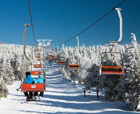 chair lift: chair lift on Mount Serak for downhill skiers - Jesenik mountains or Jeseniky - Czech republic