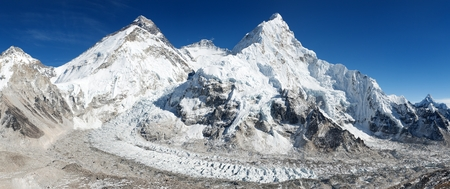 icefall: Beautiful view of mount Everest, Lhotse and nuptse from Pumori base camp - way to Everest base camp - Nepal