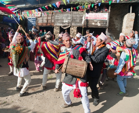 indigene: KHIJI PHALANTE, NEPAL, 6TH DECEMBER 2014 - Traditional ethnical festival, people dancing and playing on drums