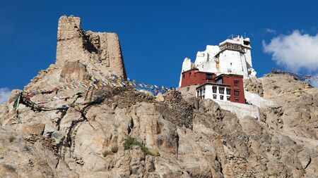 gompa: Namgyal Tsemo Gompa with prayer flags - Leh - Ladakh - Jammu and Kashmir - India Stock Photo