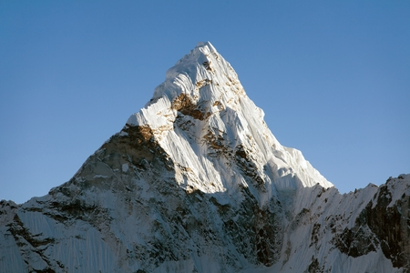 pinnacle: Top of evening mount Ama Dablam - way to Everest base camp - Nepal