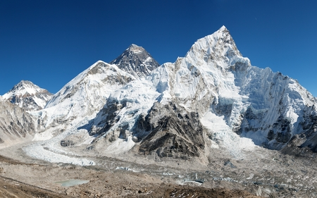 panoramic view of Mount Everest with beautiful sky and Khumbu glacier from Kala Patthar - Khumbu valley - way to Everest base camp - Nepal